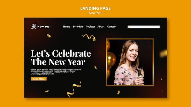 Modelo de página de destino para festa de ano novo com mulher e confetes