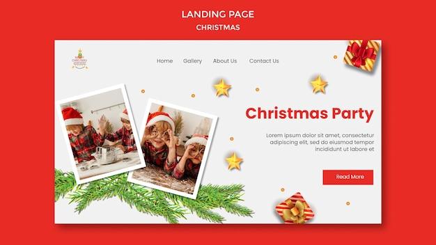 Modelo de página de destino para festa de natal com crianças em chapéus de papai noel