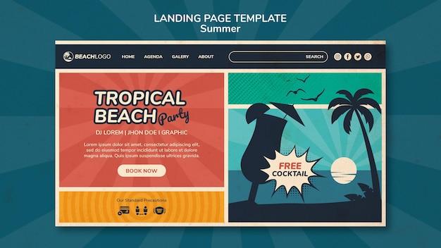 Modelo de página de destino para festa de praia tropical