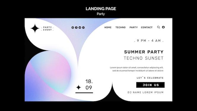 Modelo de página de destino para festa de verão