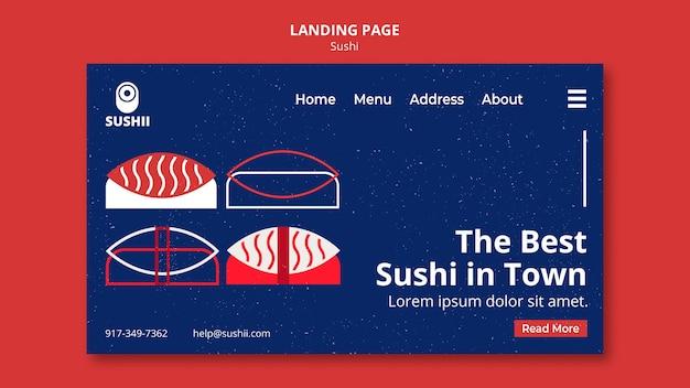 Modelo de página de destino para festival de comida japonesa com sushi