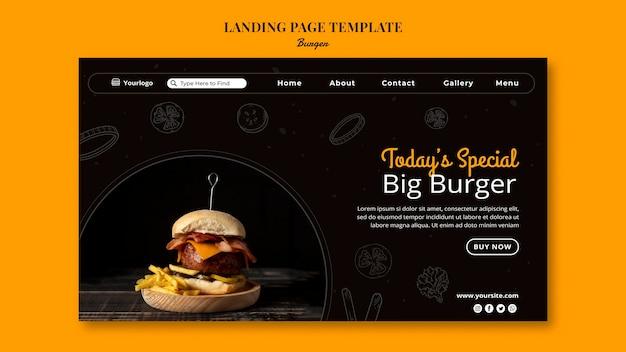 Modelo de página de destino para hambúrguer bistrô