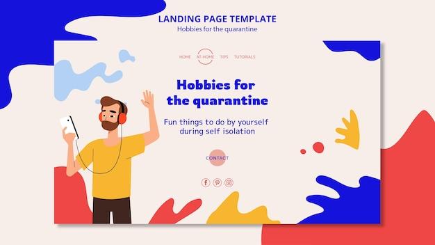 Modelo de página de destino para hobbies durante a quarentena