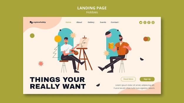 Modelo de página de destino para hobbies e paixões