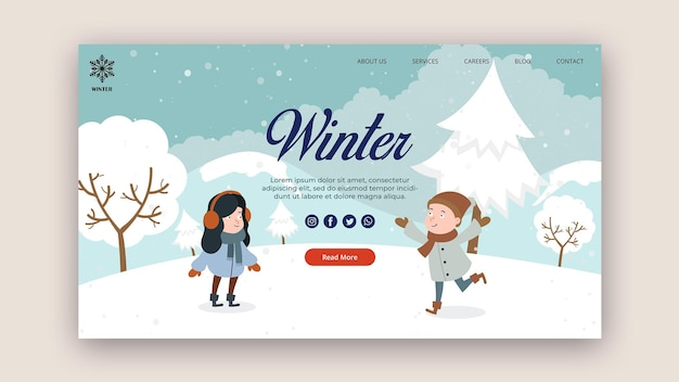 Modelo de página de destino para inverno com neve