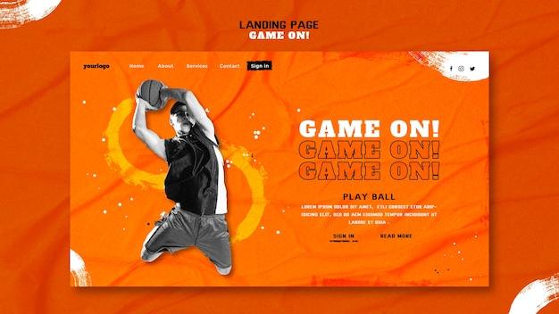 Modelo de página de destino para jogar basquete