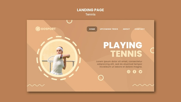 Modelo de página de destino para jogar tênis