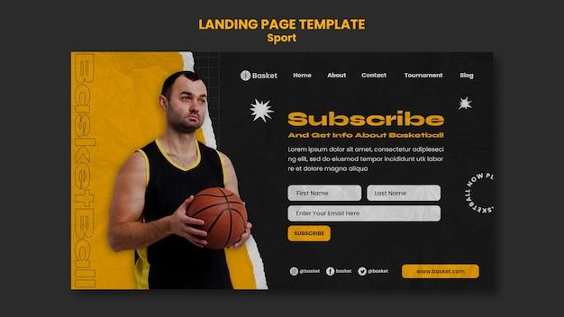 Modelo de página de destino para jogo de basquete com jogador masculino