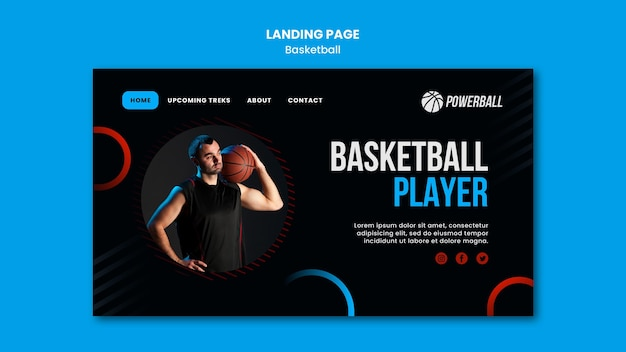 Modelo de página de destino para jogos de basquete
