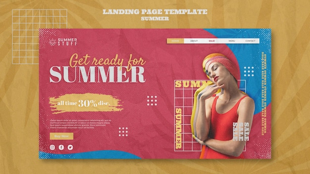 Modelo de página de destino para liquidação de verão com mulher