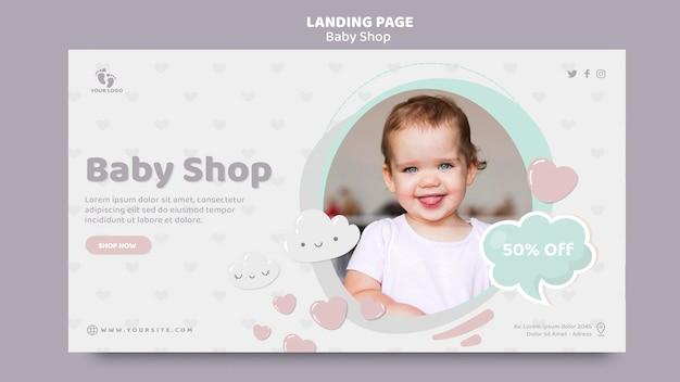 Modelo de página de destino para loja de bebês