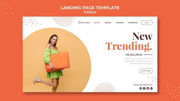 Modelo de página de destino para loja de compras de moda