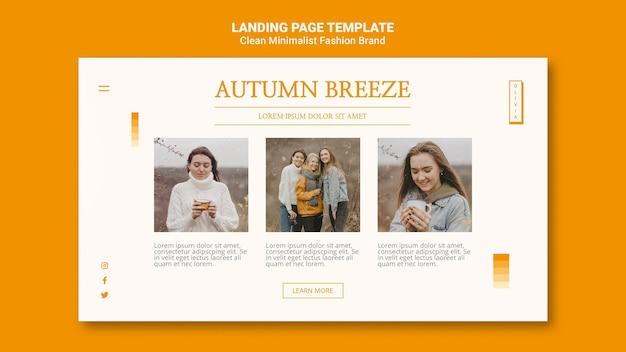 Modelo de página de destino para marca de moda de outono minimalista