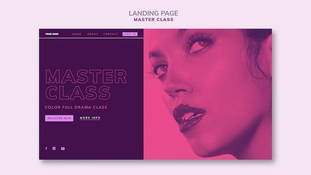 Modelo de página de destino para masterclass
