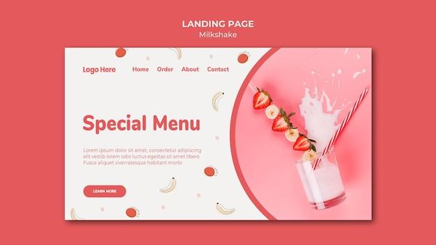 Modelo de página de destino para milkshake de morango