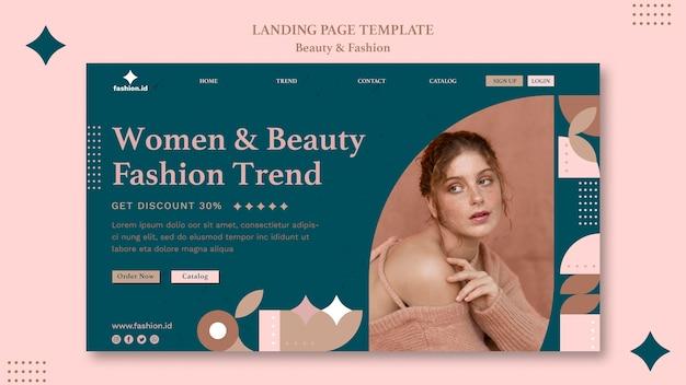 Modelo de página de destino para moda e beleza feminina