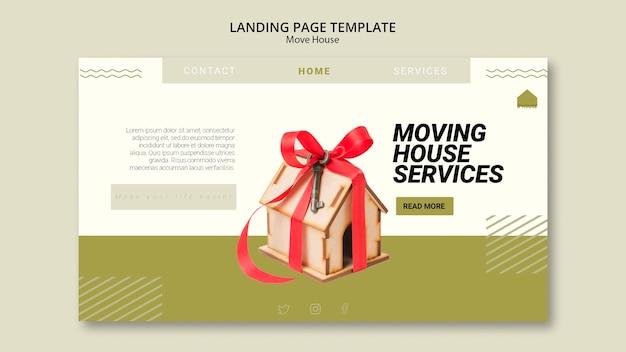 Modelo de página de destino para mover serviços de casa