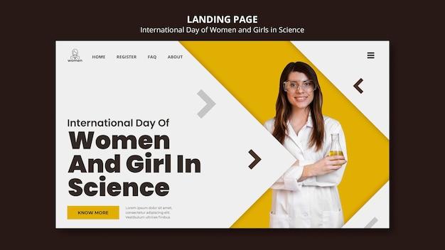Modelo de página de destino para mulheres e meninas internacionais no dia da ciência