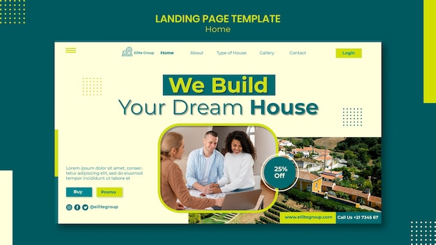 Modelo de página de destino para nova casa de família