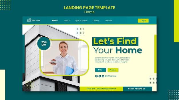 Modelo de página de destino para nova casa de família Psd grátis