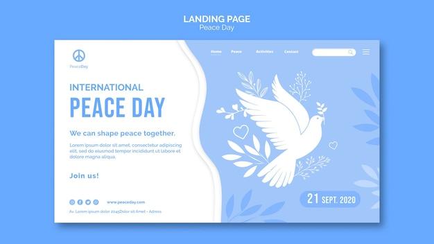 Modelo de página de destino para o dia da paz