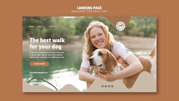 Modelo de página de destino para o dia de passear com o cachorro
