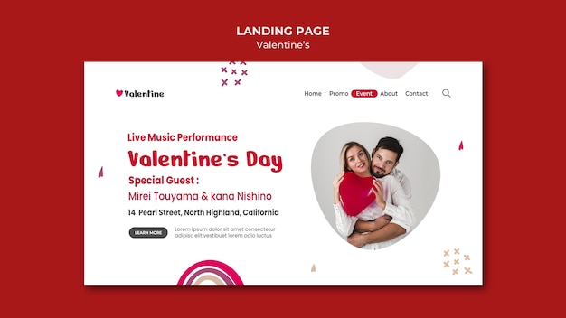 Modelo de página de destino para o dia dos namorados com o casal