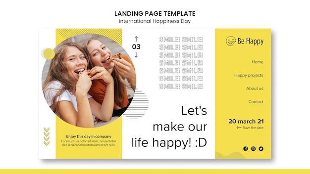 Modelo de página de destino para o dia internacional da felicidade