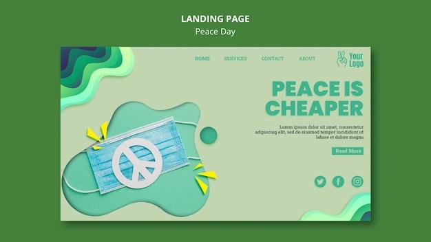 Modelo de página de destino para o dia internacional da paz