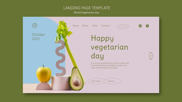 Modelo de página de destino para o dia vegetariano mundial
