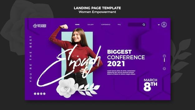 Modelo de página de destino para o empoderamento das mulheres com palavras de incentivo