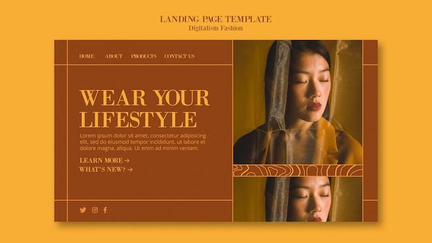 Modelo de página de destino para o estilo de vida da moda