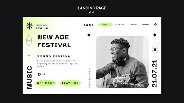 Modelo de página de destino para o festival de música new age