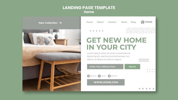 Modelo de página de destino para o novo design de interiores de casa