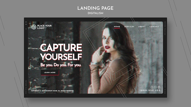 Modelo de página de destino para o tema capture a si mesmo