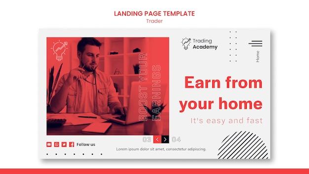 Modelo de página de destino para ocupação de trader de investimento