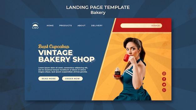 Modelo de página de destino para padaria vintage com mulher