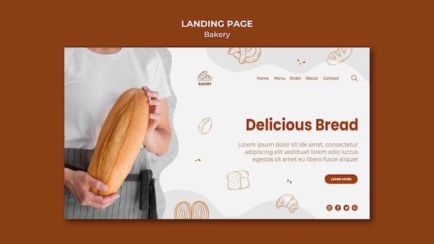 Modelo de página de destino para padaria