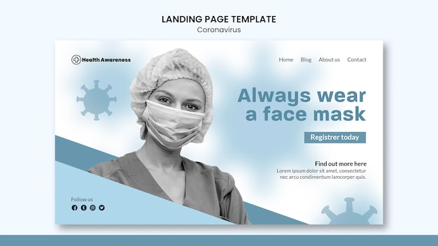 Modelo de página de destino para pandemia de coronavírus