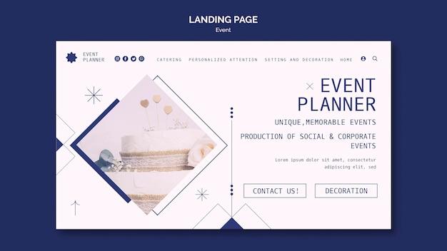 Modelo de página de destino para planejamento de eventos sociais e corporativos