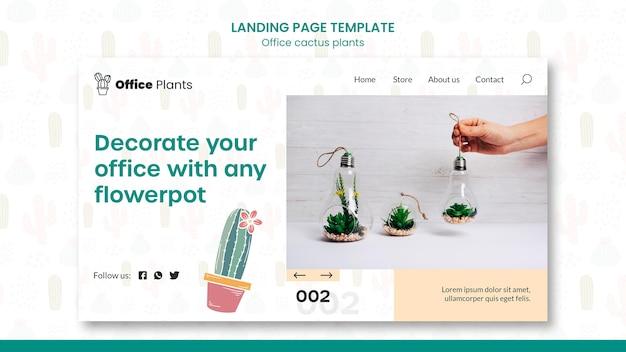 Modelo de página de destino para plantas de espaço de trabalho de escritório
