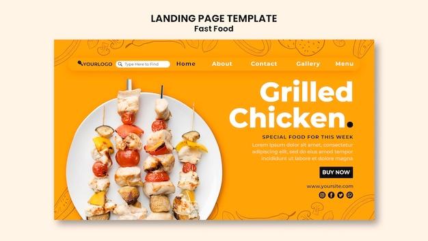 Modelo de página de destino para prato de frango frito