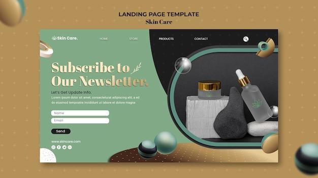 Modelo de página de destino para produtos para a pele
