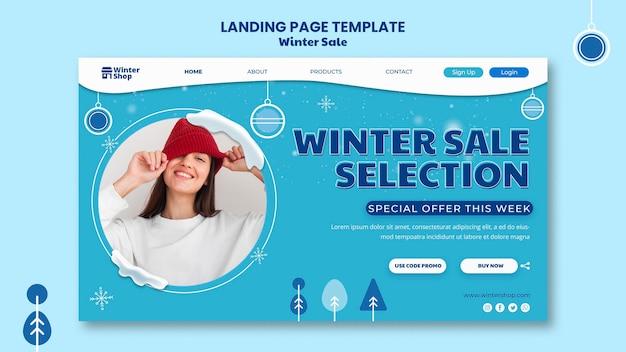 Modelo de página de destino para promoção de inverno