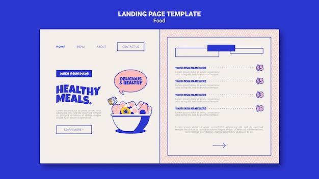 Modelo de página de destino para refeições saudáveis