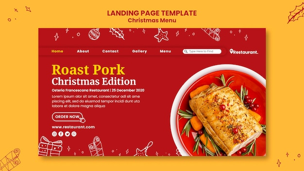 Modelo de página de destino para restaurante de comida de natal
