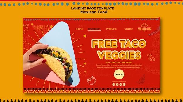 Modelo de página de destino para restaurante de comida mexicana Psd grátis