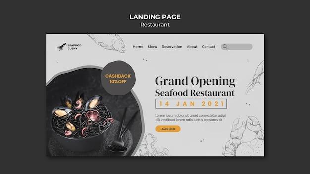 Modelo de página de destino para restaurante de frutos do mar com mexilhões e macarrão