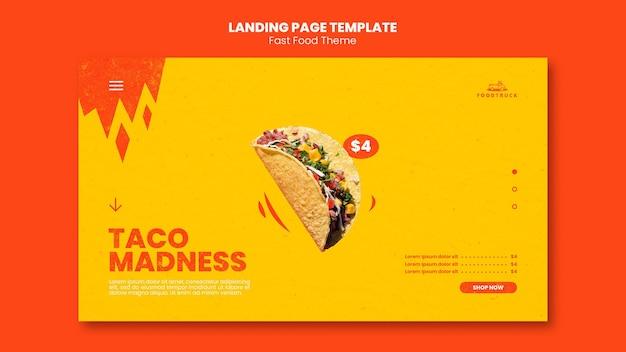 Modelo de página de destino para restaurante fast food