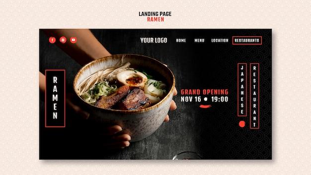 Modelo de página de destino para restaurante ramen japonês